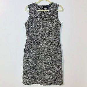 Lands End Midi Dress Pencil Black White Sz 10